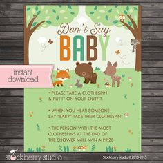 Woodland Don't Say Baby Shower Game Sign by stockberrystudio
