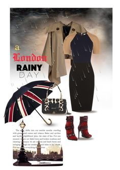 """""""a rainy day in London  ....."""" by jenesaisquoilifestyle ❤ liked on Polyvore featuring Burberry, Emilio Pucci, Victoria Beckham and Jimmy Choo"""