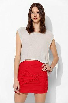 Lush Knot-Front Knit Mini Skirt