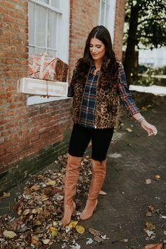 Plaid shirt+black leggins+cognac over the kne boots+leopard print fur vest. Fall Casual Outfit 2017