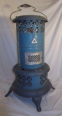 Antique Blue Enamelware PERFECTION #660 Oil Heater Vintage Collectors Piece