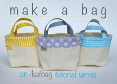 """LiEr, the creative and generous creator of the blog ikat bag, begins her new Make a Bag! tutorial series with a short editorial of sorts on commercial patterns. """" I feel almost depressed that folks feel they need to buy a pattern to make a standard tote bag,"""" she says.According to LiEr, right from the start of their exciting creative journey, beginning sewers are """"fettered to the idea that they need someone else's patterns to sew even the simplest of projects."""" Check IKAT bag for more!"""