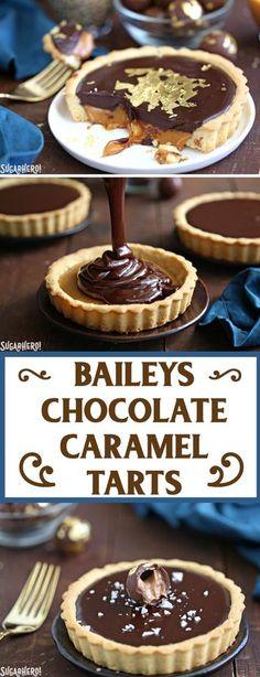 Baileys Chocolate Caramel Tarts - gorgeous mini tarts with a Baileys salted caramel filling and Baileys chocolate ganache!   From SugarHero.com