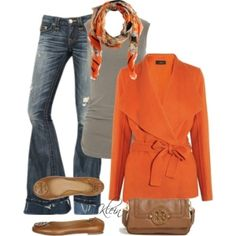 Cool casual fall outfit idea with pop of Orange...would be cute for Thanksgiving, date night, girls' night out, errands, etc