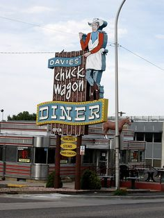 Davies Chuck Wagon Diner • Denver, Colorado.    From our place, South on Sheridan BLVD, West on W COLFAX for 2.7 mi, total 4.7 miles, 11 minutes.