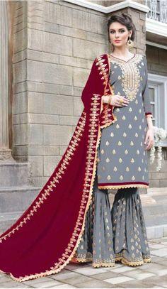 e63fd1aa14 Pakitani Style Party Wear Georgette Palazzo Suit in Grey Color - 3332896  #salwarkmaeez, #. heenastyle.com