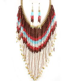 Ivory Seed Beads Statement Necklace & Earring Set