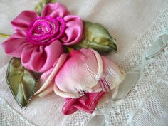 antique 1920's hot pink french ombre ribbon flowers ribbonwork