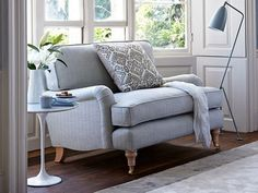 The Bluebell loveseat in Gull coloured Herringbone - discontinued