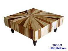 Mixed wood coffee table - Mango, Teak, and Monkey Wood