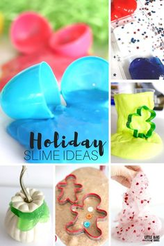 How to make holiday slime for kids science. Making holiday slime tips, ideas, and tricks including several different slime recipes as well as chemical free slime options. Holiday slimes are perfect for a kids chemistry activity.