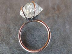 Herkimer diamond ring copper gemstone ring - by BirdandBeed https://www.etsy.com/shop/BirdandBeed?ref=si_shop