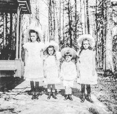 Grand Duchesses Olga Maria Anastasia and Tsarevich Alexei of Russia as little children. by historyofromanovs
