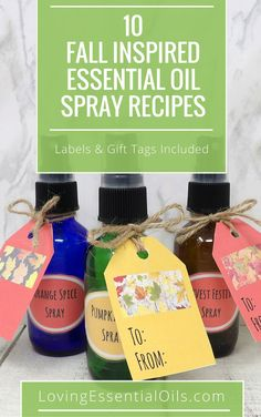 Here are 10 Fall Inspired Essential Oil Spray Recipes, get your free printable guide includes bottle labels and gift tags, check it out now and make room sprays and air fresheners that are reminiscent of autumn. Fall Essential Oils, Essential Oils Room Spray, Essential Oil Uses, Natural Essential Oils, Essential Oil Diffuser, Diffuser Recipes, Diffuser Diy, Diffuser Blends, Bottle Labels