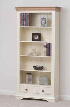 Country Cottage Painted Funiture Cabinet | Cream Large Bookcase Oak Furniture Land www.oakfurnitureland.co.uk