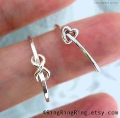 2 rings, Tiny heart & Infinity rings, 925 sterling silver ring jewelry, Promise rings, for girlfriend by peep