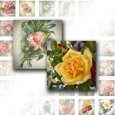 Scrabble tiles 1 x 1 inch digital collage sheet Victorian flowers ephemera download art jewelry making paper supplies