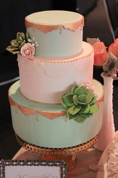 Mint and Gold Cake by Sweet Bloom Cakes