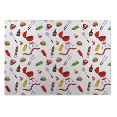 Kavka Designs Red/Green/Yellow Bbq Indoor/Outdoor Floor Mat (8' X 8') (Red - Novelty - Graphic), Size 8' x 8'