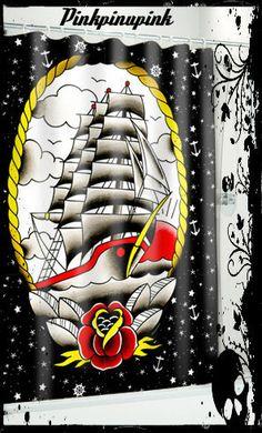 Tattoo Sourpuss Vintage Clipper Ship Punk Shower Curtain Flash Sailor Nautical