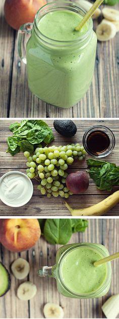 Banana Peach Green Smoothie   Click Pic for 18 Healthy Green Smoothies to Lose Weight   Easy Green Smoothie Recipes for Detox