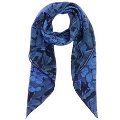 The blue and black floral-print on Bottega Veneta's silk-crepe scarf makes it a statement accessory for day and night.