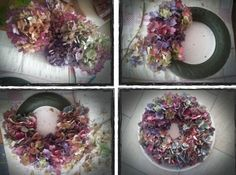 eigen gemaakte pins | bloemenkrans van de action en dan kleine plukjes hortentia erin... Door tinekedrenthen