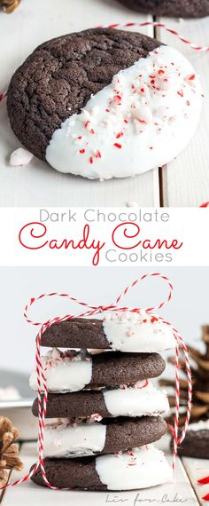 Dark Chocolate Candy Cane Cookies! The classic combination of chocolate and peppermint make these Dark Chocolate Candy Cane Cookies the perfect treat for the holidays! | livforcake.com