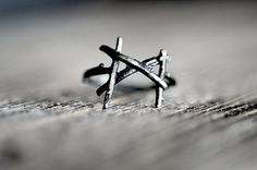MANNAZ Rune Ring, sterling silver twigs -  Spirit of Humanity, Man, Divine Union