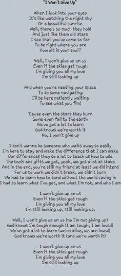 I won't give up lyrics by Jason Mraz....beautiful song