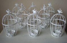 White Birdcage Tea light Candle Holder Wedding Shower Party Decor