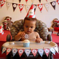 Sock Monkey Birthday Party Decorations Printable PDFs