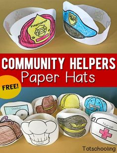 Community Helpers Printable Paper Hats Free Printable Paper Hats That Kids Can Color And Wear When Learning About Community Helpers Occupations Or When Doing Dramatic And Pretend Play Great For Preschool And Kindergarten Community Helpers Activities, Community Helpers Kindergarten, Kindergarten Social Studies, Kindergarten Jobs, Community Helpers Lesson Plan, Social Studies Activities, Free Preschool, Preschool Themes, Preschool Lessons
