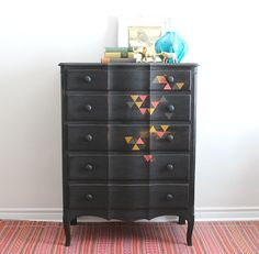 Black Tallboy Dresser with Triangles - Painted with Milk Paint