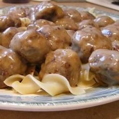 Ok, so there are a ton of meatball recipes on this site. Try it if you like savory, big meatballs to serve with whipped potatoes or egg noodles. Meatball Recipes, Meat Recipes, Cooking Recipes, Kid Cooking, Cooking Lamb, Yummy Recipes, Recipies, Yummy Food, Healthy Recipes