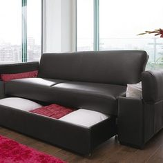 Fancy - Get style & practicality with our high quality fax leather look sofa bed with built in storage compartments. Sofa Set Designs, Sofa Design, Furniture Design, Furniture Ideas, Sofa Bed With Storage Uk, Built In Storage, Bed Storage, Online Furniture Stores, Furniture Shopping