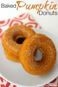 "Baked Pumpkin Donuts Recipe. Easy and perfect for ""On the Go Breakfast"" this fall. Also perfect for evening dessert."
