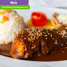 Mole. Complex dark sauce with chiles, nuts, spices, fruits, vegetables, chocolate and seasonings.