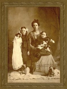 +~+~ Antique Photograph ~+~+   Family Portrait 1890s.  Dolls and Pugs included ;)