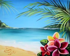 Aloha. Hawaiian beach with Plumeria flowers beginner painting idea.