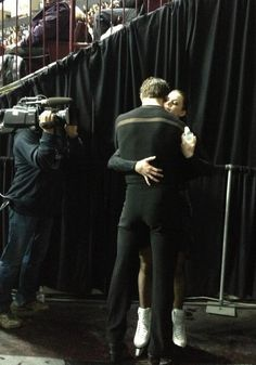 Virtue Moir before skating their free dance at the 2012 Skate Canada.