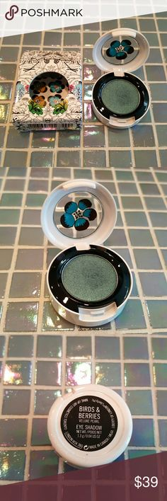 MAC Eye Shadow BIRDS & BERRIES Liberty London LE RARE & DISCONTINUED. In box. Near New, lightly tested 1 time. MAC cosmetics BIRDS & BERRIES eyeshadow. From the limited edition Liberty of London collection. Packaged in the LE white case. Gorgeous deep teal with shimmer. MAC Cosmetics Makeup Eyeshadow