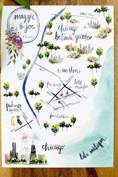 Map of Chicago for your out of town guests / Hand Painted /City Map / Chicago Wedding Planner