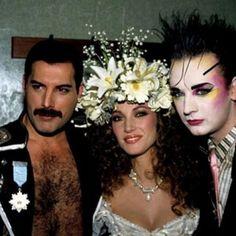 Freddie Mercury, Jane Seymour and Boy George backstage at Fashion Aid, 1985.