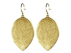 Me & Ro Jewelry - 18K Gold Engraved Paisley Teardrop Earring
