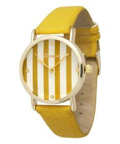 Loving this Mustard Stripe-Strap Watch on #zulily! #zulilyfinds