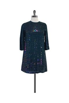 French Connection- Teal Sequin Shift Dress Sz 2 | Current Boutique