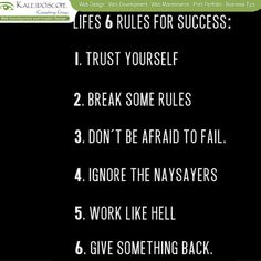 6 Rules for Success in your life..