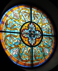Stained Glass Window in Old St. Mary's Church in Cincinnati, Ohio.
