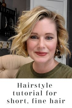 This video tutorial will show you how to take your short fine hair from flat to beach wavy in no time. I go over the best products to use for fine hair, how to use a flatiron for wavy curls and how I style my short hair for an over 40 look! Over 40 Hairstyles, Messy Bob Hairstyles, Wavy Hairstyles Tutorial, Bob Hairstyles For Fine Hair, Short Hairstyles For Women, Short Hair Cuts For Women Over 40, Bobs For Fine Hair, Fine Hair Cuts, Curling Iron Hairstyles